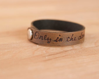 Personalized Leather Bracelet - Handmade Skinny Cuff in the Smokey Pattern with Inscription - Antique Black