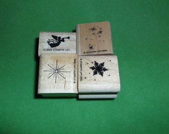Lot of 4 Christmas rubber Stamps Stampin up