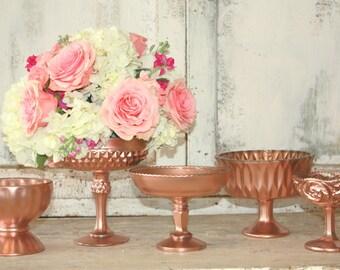 Rose gold vase, pedestal vase, vintage crystal rose gold painted centerpiece vase, elegant wedding decor
