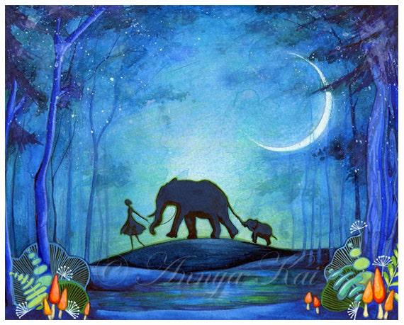 Animal Watercolor Painting Elephant Watercolor Animal Art Print Safari Animal African Animal Baby Animal