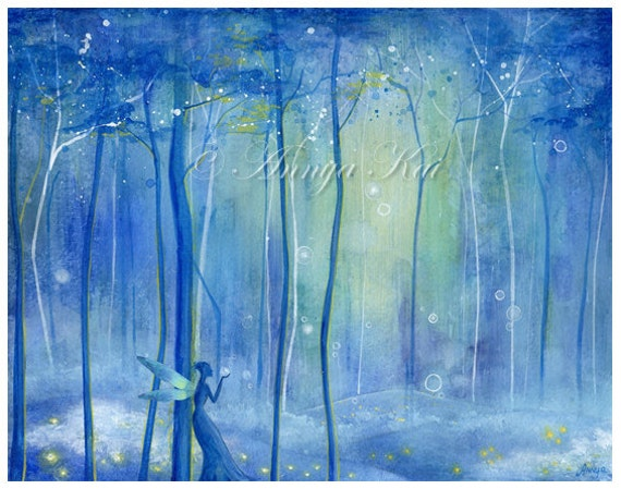 Fairy Fantasy Forest - Enchanted Woodland Fairytale with Blue Lights and Fireflies