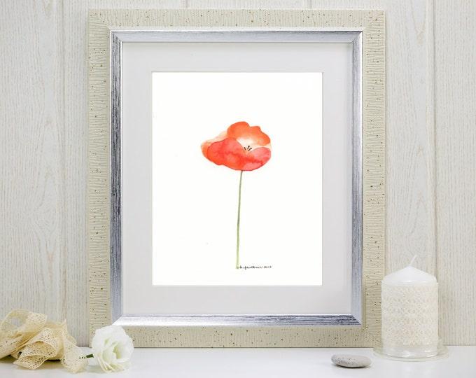 "Orange poppy watercolor art print: ""Papaver"""