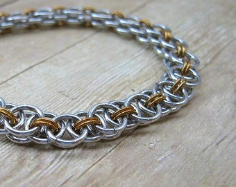 Aluminum and Brass Chainmail Bracelet, Two Tone Chain Mail Bracelet, Helm Chain Bracelet, Parallel Weave Mixed Metal Jewelry, Chainmaille