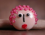 Lampwork Face Bead Focal with Pink Hair Divine Spark Designs SRA