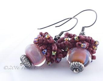 148 Red Cluster Lampwork Earrings