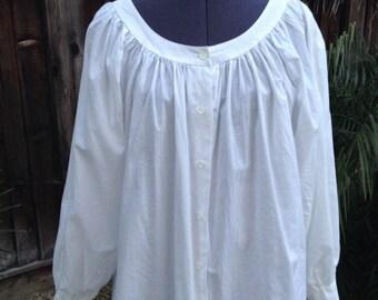 Vintage 80s white cotton peasant blouse ~ bohemian ~ hippie