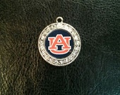 Auburn War Eagle Crystal Circle Charm