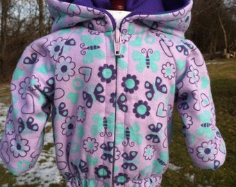 Sale- Cute 18 inch doll coat pretty purple and teal BUTTERFLY AND FLOWERS design lined hooded coat and frumpy hat for that special girl doll