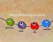 6 Turkish 8MM Round Glass Evil Eye Beads, 1mm Hole (Select your preferred color per package of 6)