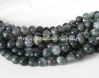 Moon Agate Round 8mm Beads, 15.5-Inch Strand,  Approx 50 beads