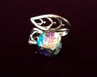 Adjustable Dichroic Glass and Pewter Opal Style Ring