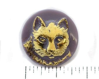Lavender, Gold Cat Czech Glass Button - 23mm