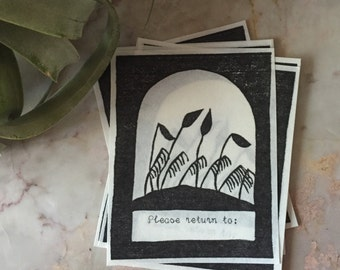 "Relief Printed Moss Bookplates - ""Please return to"""