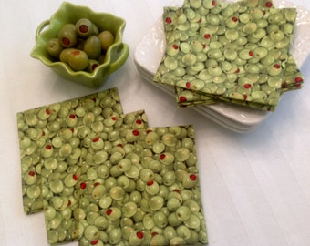 Set of 8 - Olives, Eco Friendly Cotton Cloth Cocktail Napkins Fabric Beverage Napkins Party Cocktail Napkins