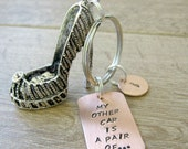 Stiletto Keychain, My Other Car is a Pair Of, ballroom dance gift, drag queen gift, high heeled shoes, women's shoes, optional initial disc