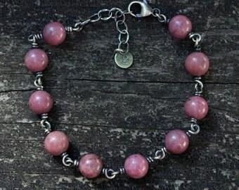 Rhodonite sterling silver beaded bracelet