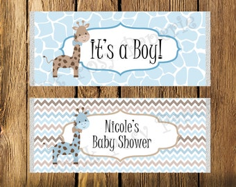 Printable Blue Giraffe Boy Baby Shower Large Candy Bar Wrappers