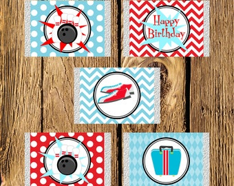 Printable Bowling Birthday Mini Candy Bar Wrappers - Instant Download
