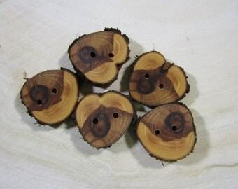 5 beautiful Juniper Wooden buttons- handmade buttons 1.25 inch (2031)