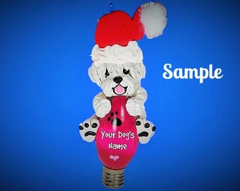 White Puli Santa Dog Christmas Holidays Light Bulb Ornament Sally's Bits of Clay PERSONALIZED FREE with dog's name