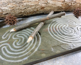 DOUBLE LABYRINTH STONE - Carved Troy Pathway (Single Path on Each Side) - Finger Maze Meditational Tile - Carved Natural Slate