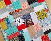 Modern Gender Neutral Rustic Western Quilt. Patchwork Toddler Blanket Bed Decor, Ready 2 Ship. Designer Fabrics, Warm Tones, Brown, Rust.