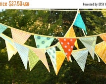 STOREWIDE 15% OFF HUGE Sale Colorful Fabric Bunting Banner Prop Decoration in Orange, Green, Yellow and Aqua. Designer's Choice. Best Sellin