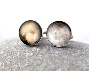 Pluto and Charon Cuff Links - Galaxy Accessories - Gifts for Dudes, Moon Planet, Space Cufflinks, Science Wedding, Solar System, Fathers Day