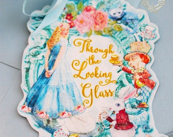 Tags. Gift Tags, Favors Alice Through the Looking Glass Set of Six Double Sided Glittered Tags