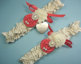 Personalized Ivory and Coral Wedding Garter Set with Handmade Roses, Pearls, Rhinestones and Engraving