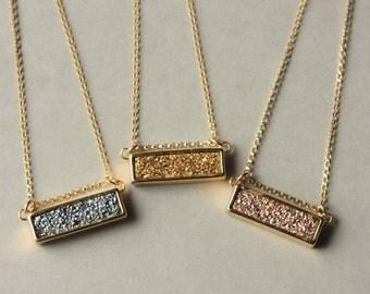 Druzy Bar Necklace, Druzy Pendant, Drusy Necklace, Gold Druzy Necklace, Druzy Jewelry, Rose Gold Silver Druzy, Holiday Jewelry, Under 50