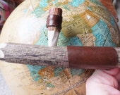Leather and Wood Peace Pipe Steamroller Tobacco Pipe Smoking Pipe Wooden Pipe Unique Pipe Upcycled Gift for Men