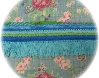 Vintage Chenille Bedspread Bullion Quilt Trim Fringe 8 yards Lime Green, Royal and Aqua