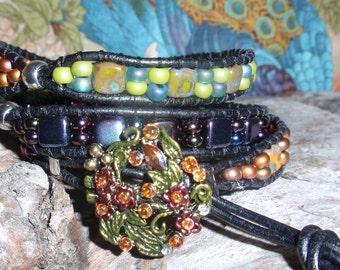 Czech And Leather Wrap Bracelet, Handmade Art Wear,Tile Beads Spring Colors Bracelet