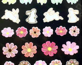 Flower Stickers - Japanese Washi Paper Stickers - Chiyogami Flower Stickers - Rabbit stickers -  (S4)