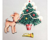 1950s Christmas Card - Cute Reindeer and Christmas Tree