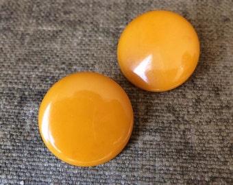 Butterscotch Bakelite Earrings - Clip On