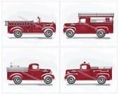 Fire Truck Wall Art, Firetruck Engines Artwork, Firetruck Art Prints, Vintage Prints for Boys Kids Bedding Decor, Unframed Red & Gray Art
