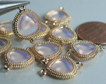 Promotion SALE 20% off Framed pink opal glass drop charm connector, earring componenet, necklace pendant, 2 pcs (item ID G159N03GP)