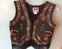 Ugly Christmas Vest w/fringe and art work,black/felty/stars/arrows/catus/S/black fringe