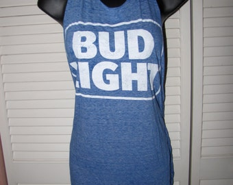 super soft BUD LIGHT blue cut up shredded backless t shirt tank top tunic one size fits most