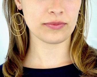 NEW Triple Hoop earrings in 14K Gold fill, large gold hoop earrings, hammered hoop earrings, delicate hoop earrings, 2 inch hoop earrings
