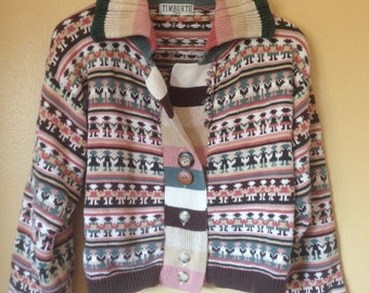 Vtg 90s Timbuktu People Holding Hands Cotton Cardigan