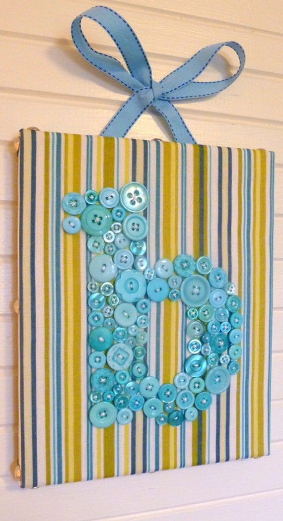 Nursery Letter Art, Button Letter B, Personalized Kids Wall Art, Nursery Art Canvas, Button Art, Toddler Gift, Wall Canvas or Ready-to-Frame
