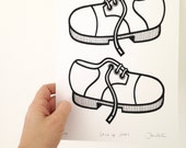New lace up shoes screen print by Jane Foster  - hand printed signed LIMITED EDITION doc martins style