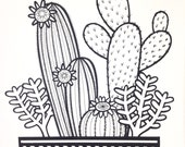 New Cacti screen print  by Jane Foster  - hand printed signed LIMITED EDITION