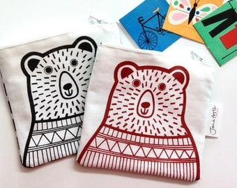 Screen Printed Limited Edition Bear Purse, Bag, Pouch by Jane Foster - monochrome design illustration