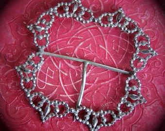 Antique. Edwardian. Cut Steel. Buckle. Edwardian. Jewelry. Accessory. Supply. 1910s. EandO