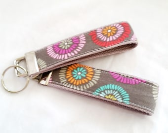 Keychain Wristlet Key fob - Color Splash on Gray