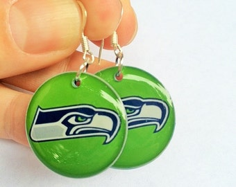 Seattle Seahawks Earrings! Bright, Lime Green Seahawks Resin Earrings with Navy Backs, medium size with sterling silver ear wires